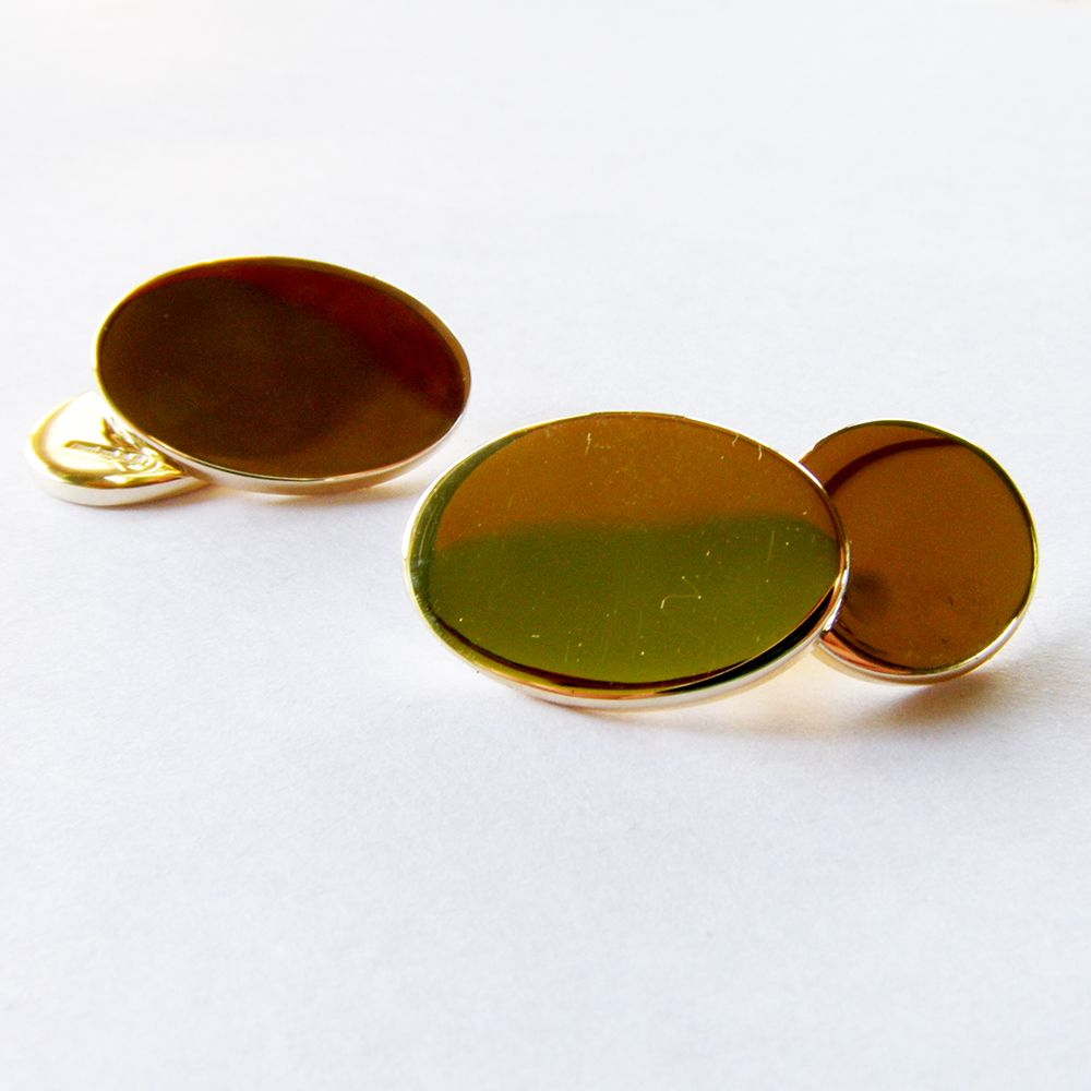 9 Carat Gold Cuff links with Plain Finish 2mm thick