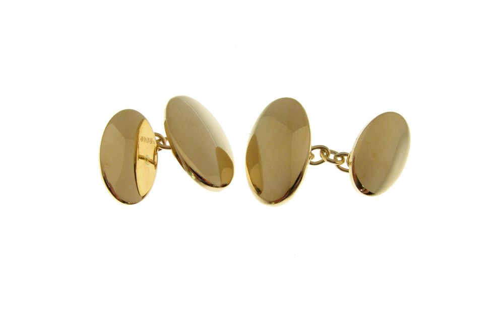 9 Carat Gold Cufflinks with Plain Domed Finish