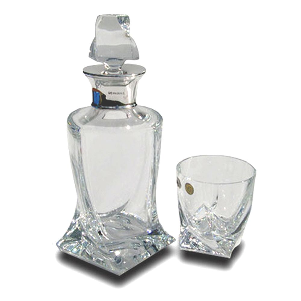 Sterling Silver Twist Style Glass Whisky Decanter