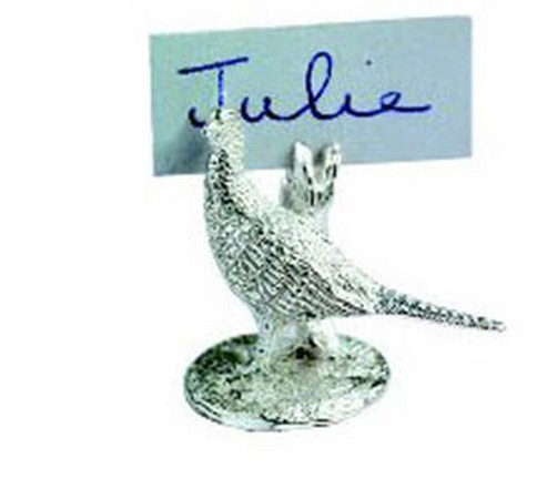 HALLMARKED SILVER PHEASANT PLACE SETTINGS SILVER PLACE CARD HOLDER PHEASANT