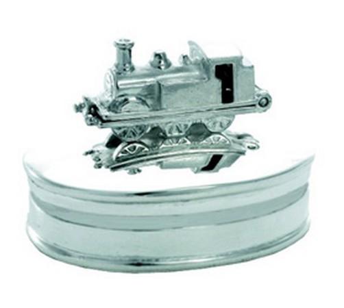 Hallmarked Sterling Silver New Christening Gift Train Keepsake//Tooth Box