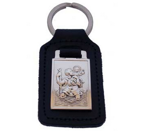 Silver And Leather St Christopher Key Fob
