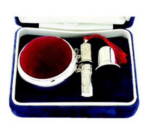 hallmarked silver three piece sewing set