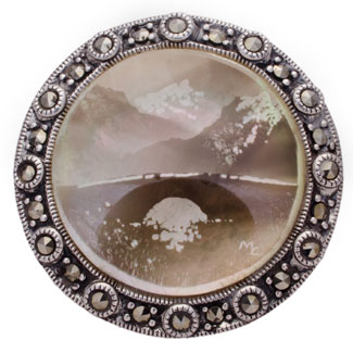hallmarked silver candle smoked brooch