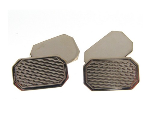heavy gauge cut corner shaped silver cufflinks