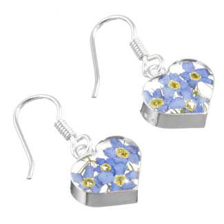 forget me not silver heart shaped earrings
