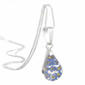 silver forget me not teardrop pendant