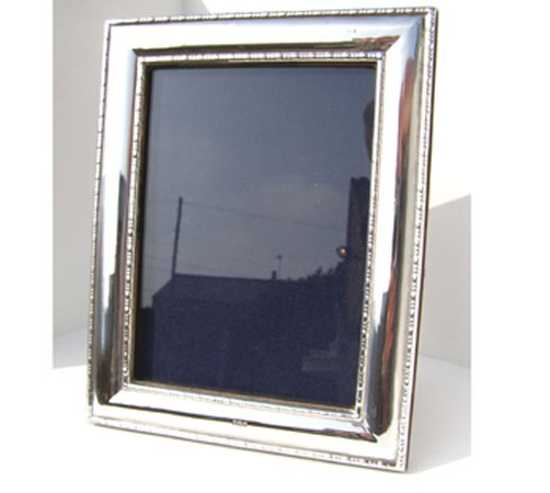 hallmarked silver bead edge pattern photo frame