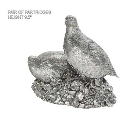 hallmarked sterling silver figurine of a pair of partridge