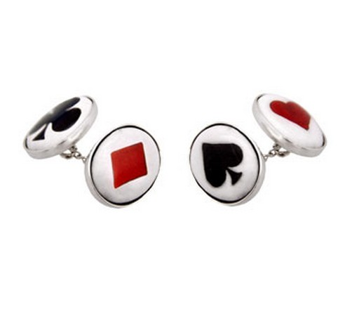 hallmarked silver and enamel playing card cufflinks