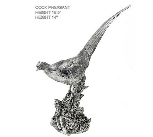 large hallmarked silver figure of a cock pheasant on a branch