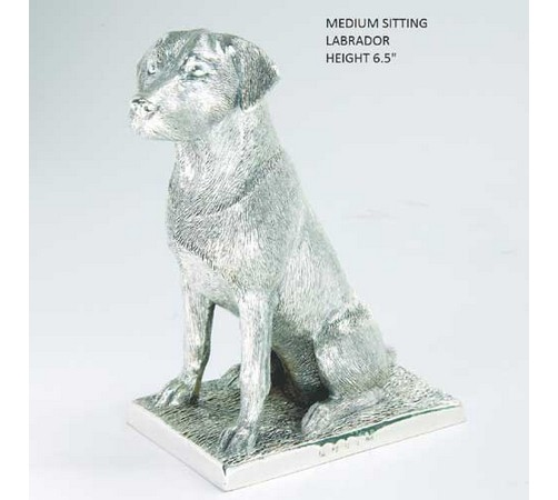 medium size hallmarked silver labrador model