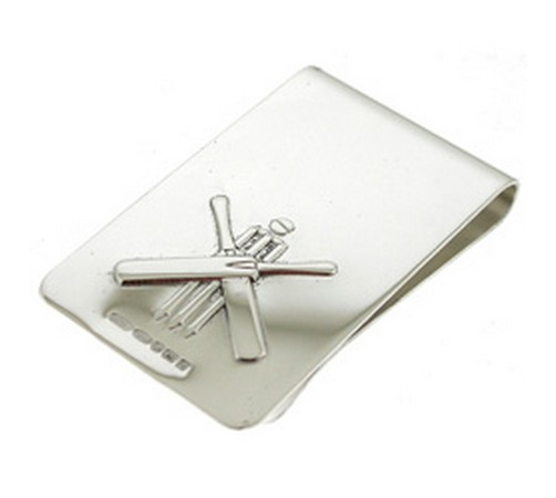 cricketing hallmarked silver money clip