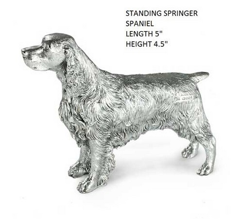sterling silver model of a springer spaniel