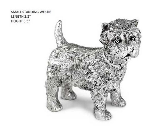 hallmarked silver model of a westie dog