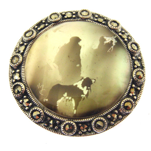 candle smoked silver brooch with collie dog