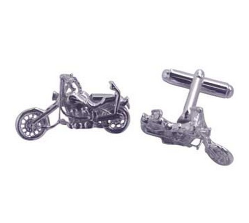 hallmarked silver chopper motor bike cufflinks