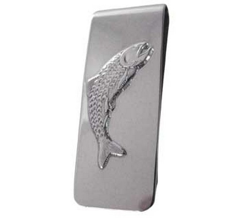 solid silver fish themed money clip