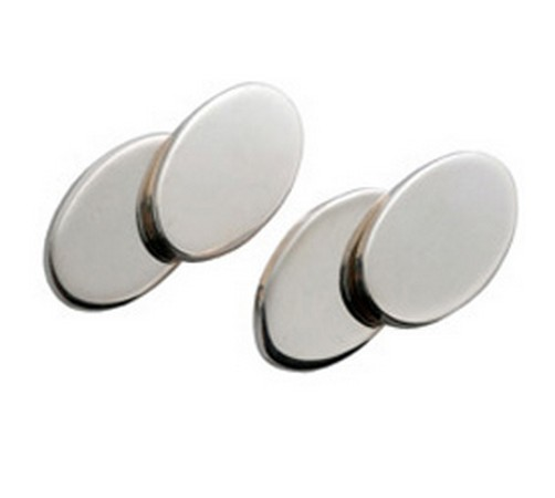 heavy gauge hallmarked silver oval cufflinks