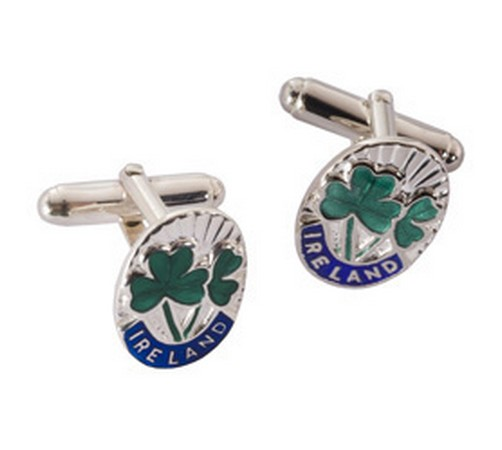 irish shamrock sterling silver cufflinks