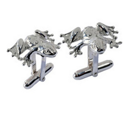 hallmarked solid silver toad cufflinks