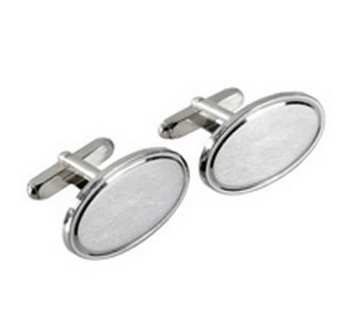 heavy gauge solid silver hallmarked oval cufflinks