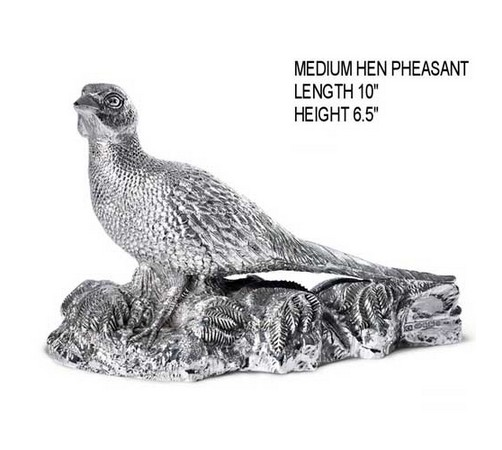 medium hallmarked silver hen pheasant