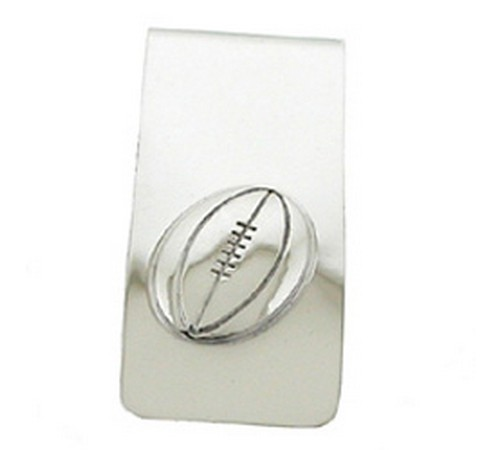 money clip hallmarked silver with a rugby motif