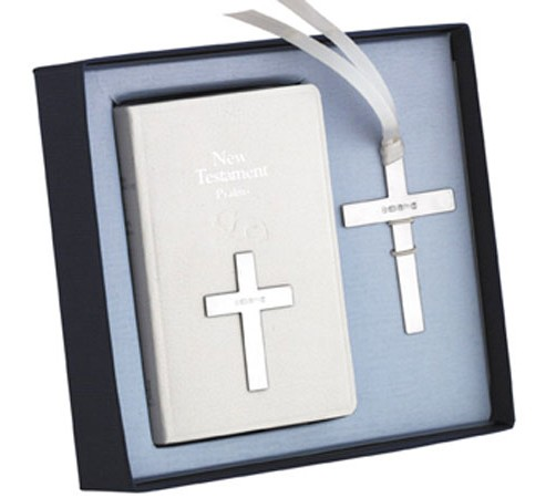 new testament bible set with silver bookmark