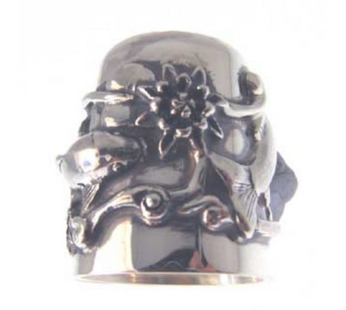 silver thimble with a koi carp and lotus scene