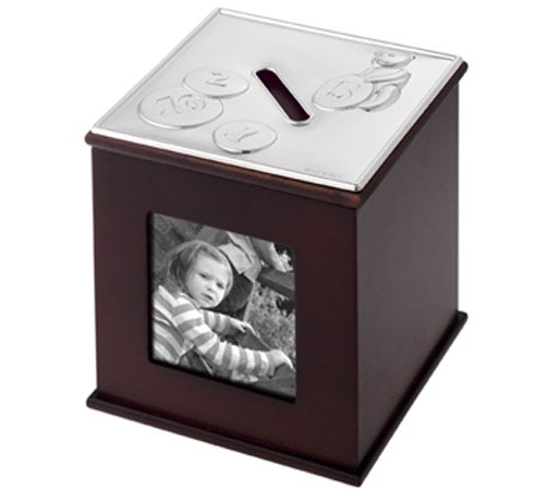 silver money box with a teddy bear theme