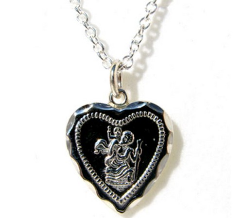 heart shaped silver st christopher and chain