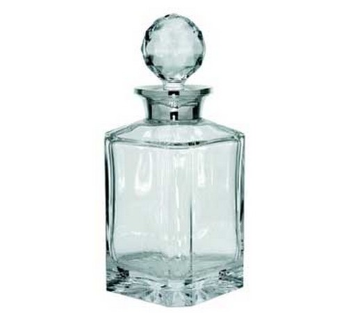 silver whisky decanter with plain glass