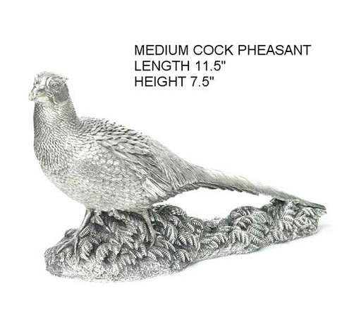 medium size silver model of a cock pheasant