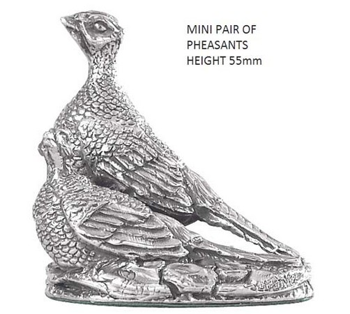 hallmarked silver miniature pair of pheasants