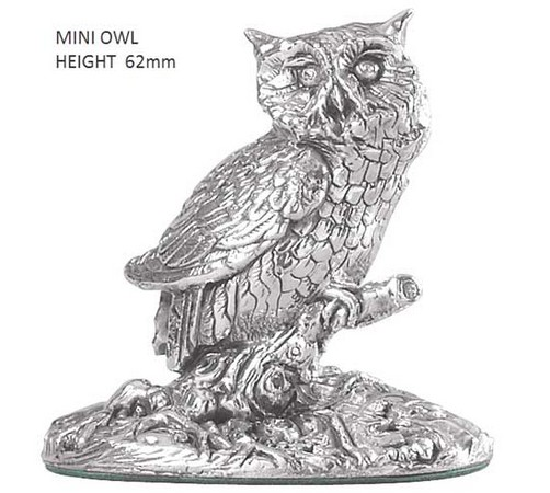 small hallmarked silver owl figure