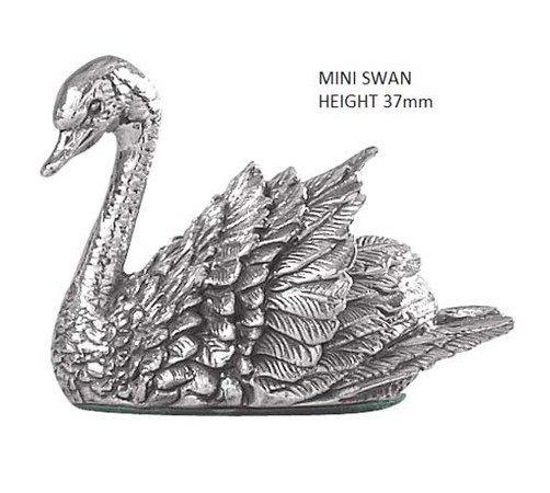 miniature silver model of a swan