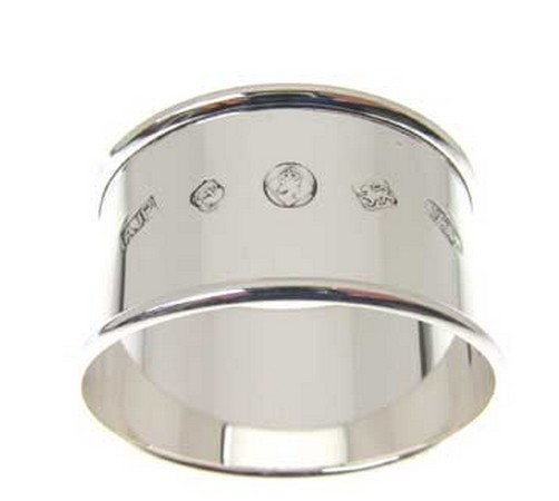 silver napkin ring with feature display hallmark