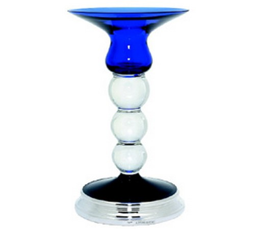 hallmarked silver and cobalt blue glass candlestick