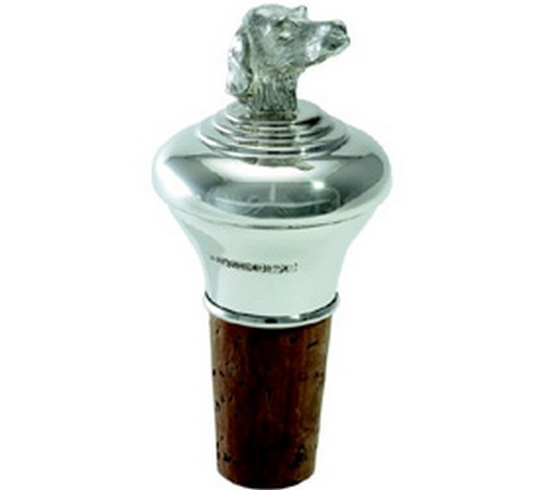 silver dogs head bottle stopper