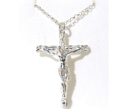 large size hallmarked silver crucifix and chain