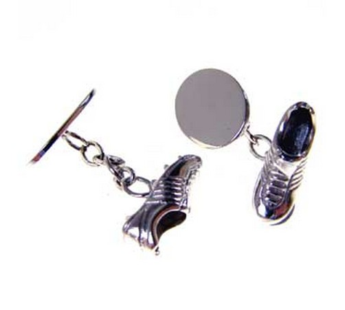 hallmarked silver football or rugby boot cufflinks
