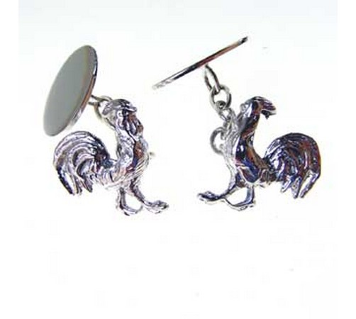 hallmarked silver cockerel cufflinks