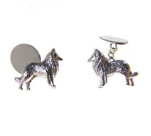 hallmarked silver collie dog cufflinks