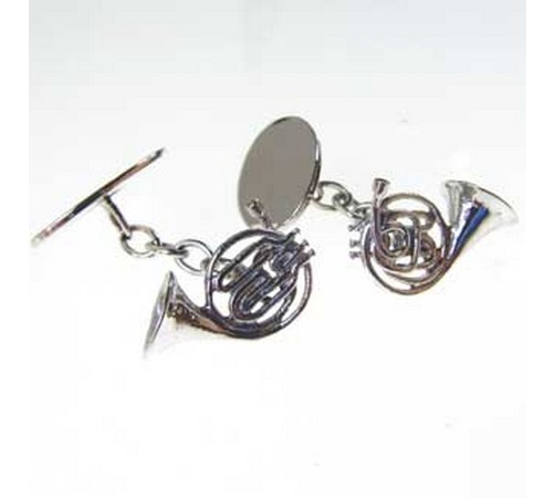 hallmarked silver french horn cufflinks