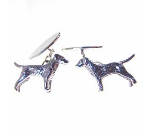 hallmarked silver pointer dog cufflinks