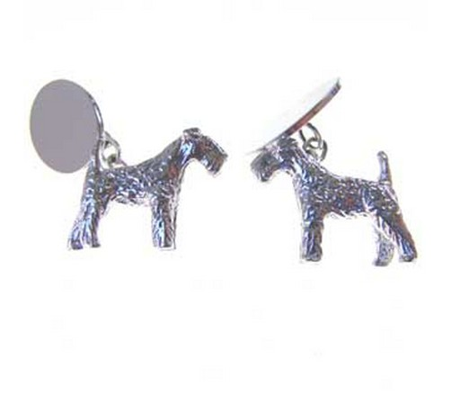 hallmarked silver airdale terrier dog cufflinks