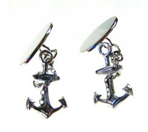hallmarked silver ships anchor cufflinks