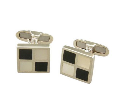 silver cufflinks with mother of pearl and onyx chequered pattern