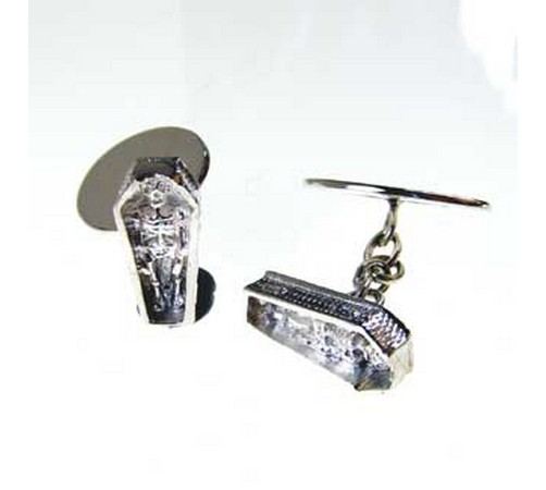 hallmarked silver skeleton in a coffin cufflinks